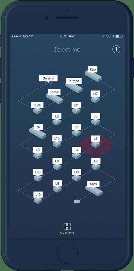 UI Design für Industrie 4.0 Smartphone App von Bosch