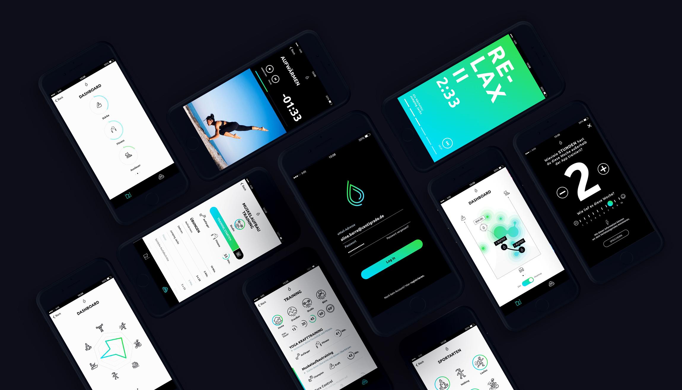 User Interface Design Beispiele der Infit App
