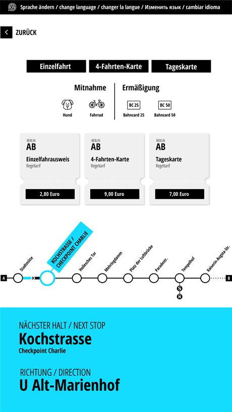 User Interface Design einer App - Beispiel: Fahrkartenübersicht