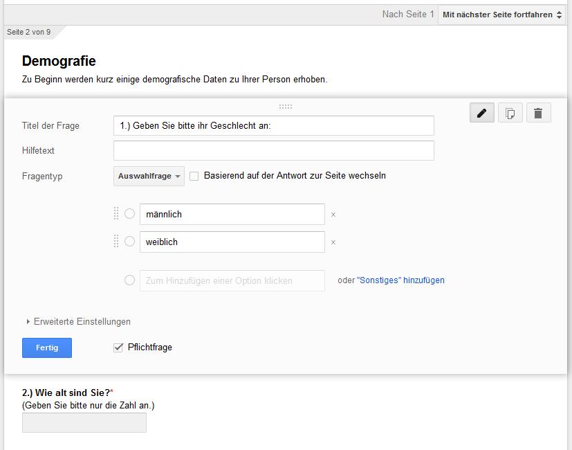 Ich benutzte Google Docs als Umfrage-Tool. Die Ergebnisse wurden dabei automatisch ein ein Microsoft Excel-Dokument exportiert.