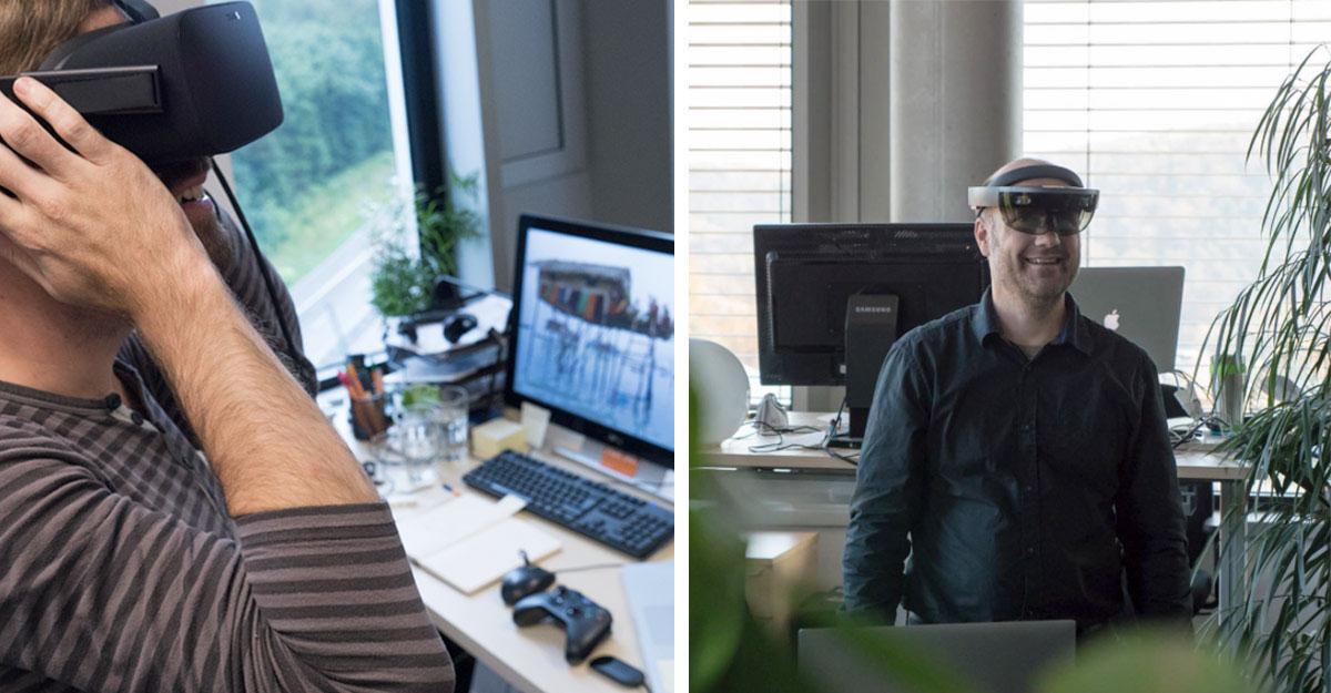 right: VR-Headset, left: AR-Headset