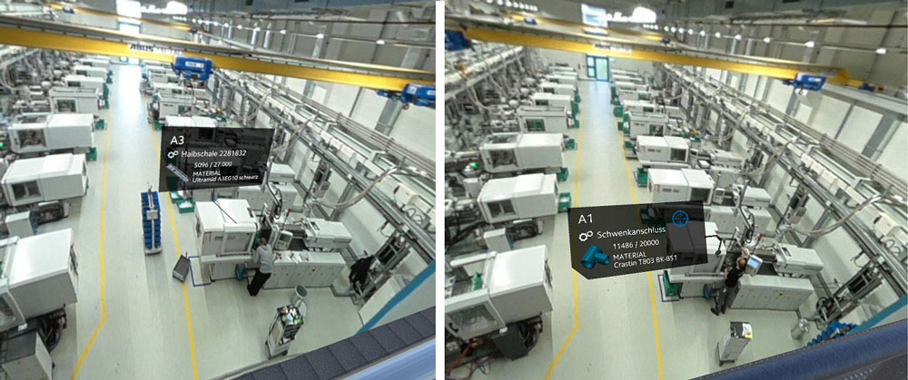 Positioning and alignment of the AR overlays in the machine hall – left before testing, right afterwards