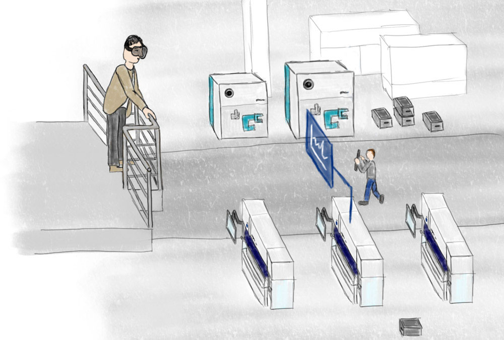 The shift supervisor monitors the machine hall with the help of an AR-Headset