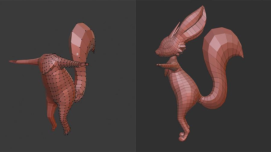 Fuchs Knete 3D Blender mit Polygonnetz