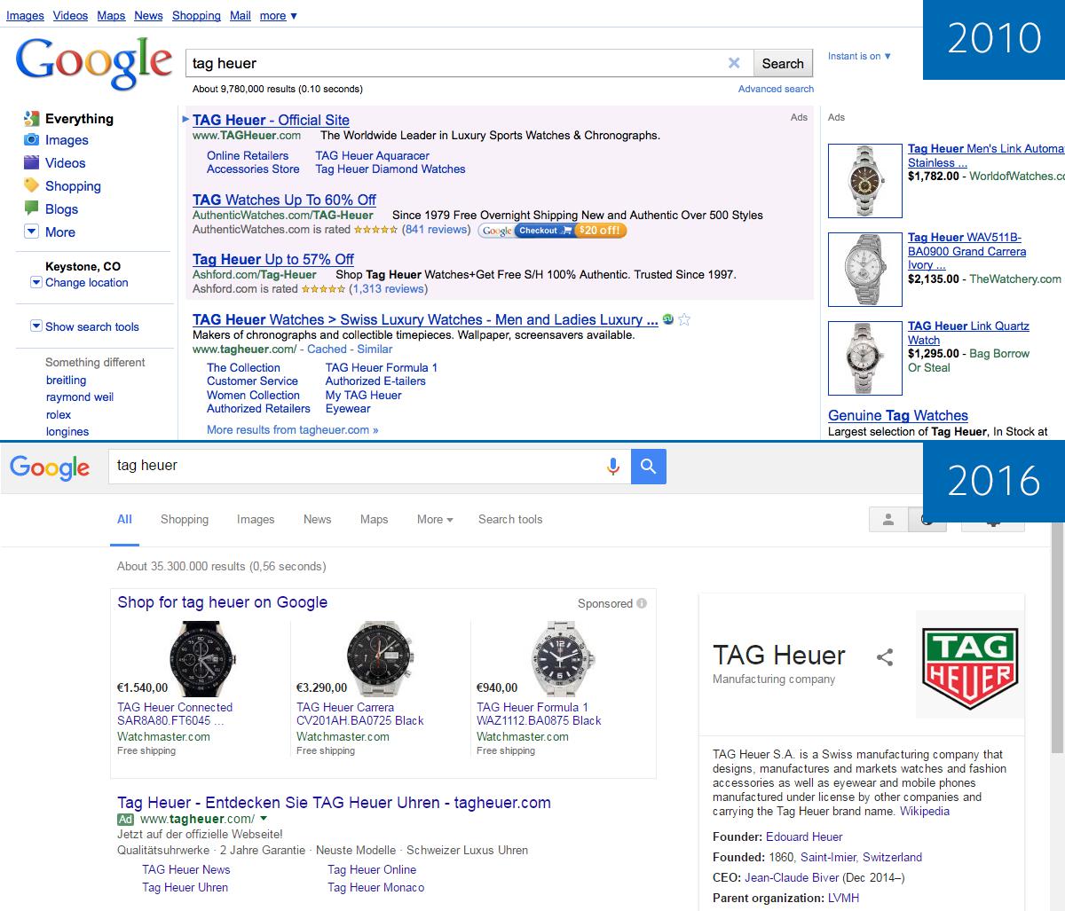 Googles Suchoberfläche 2010 und 2016