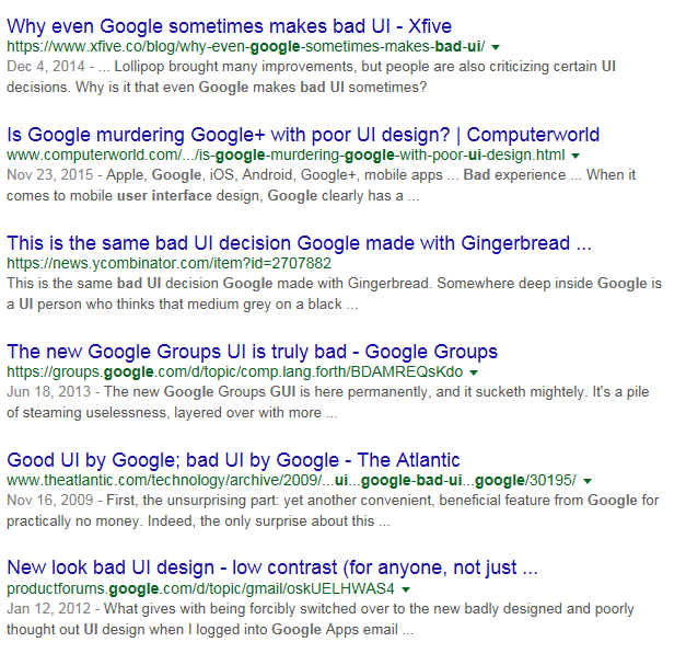 Search results – bad Google UI