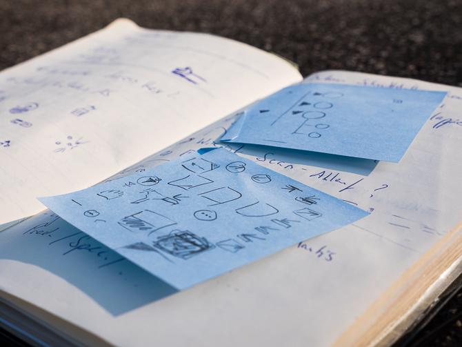 Aus Grundformen zusammengefügte Icon Scribbles.
