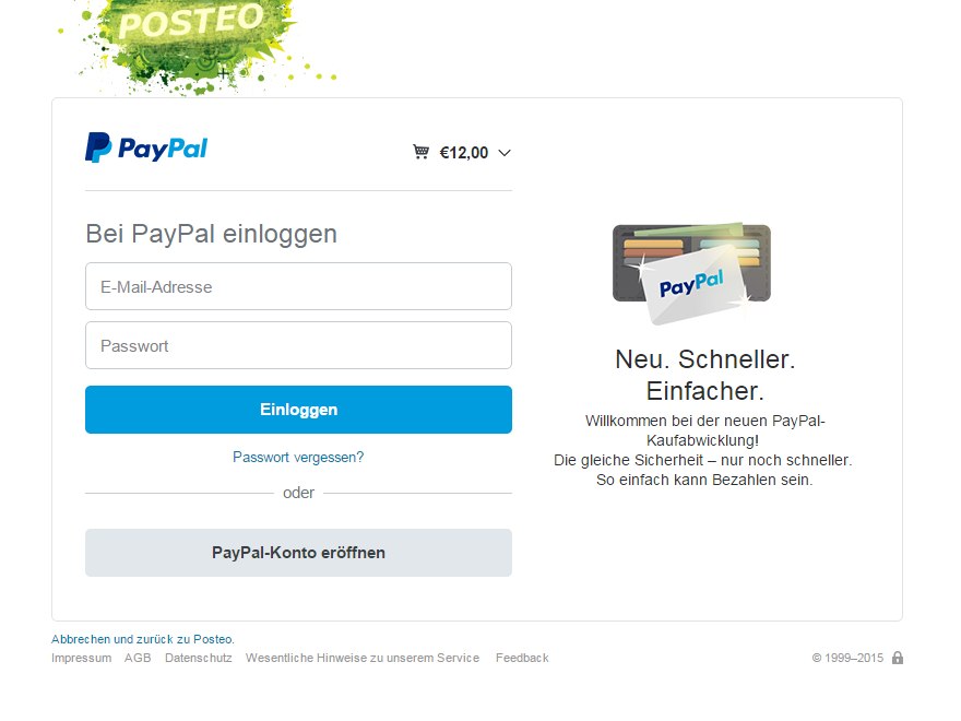 Insufficient visual coherence in PayPal's graphic interface