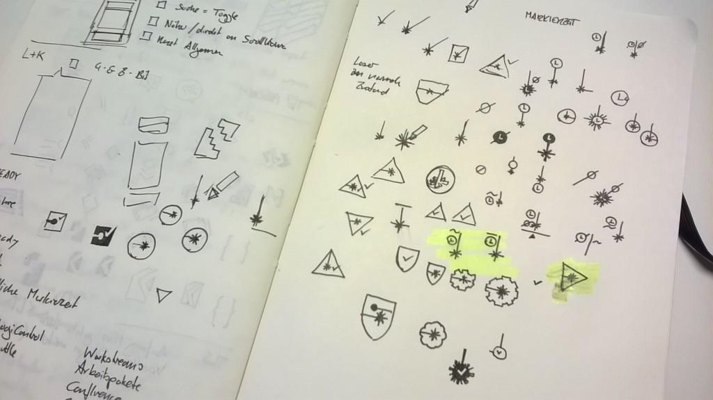 Entwickeln von Ideen und Verfeinern von Icon-Metaphern.