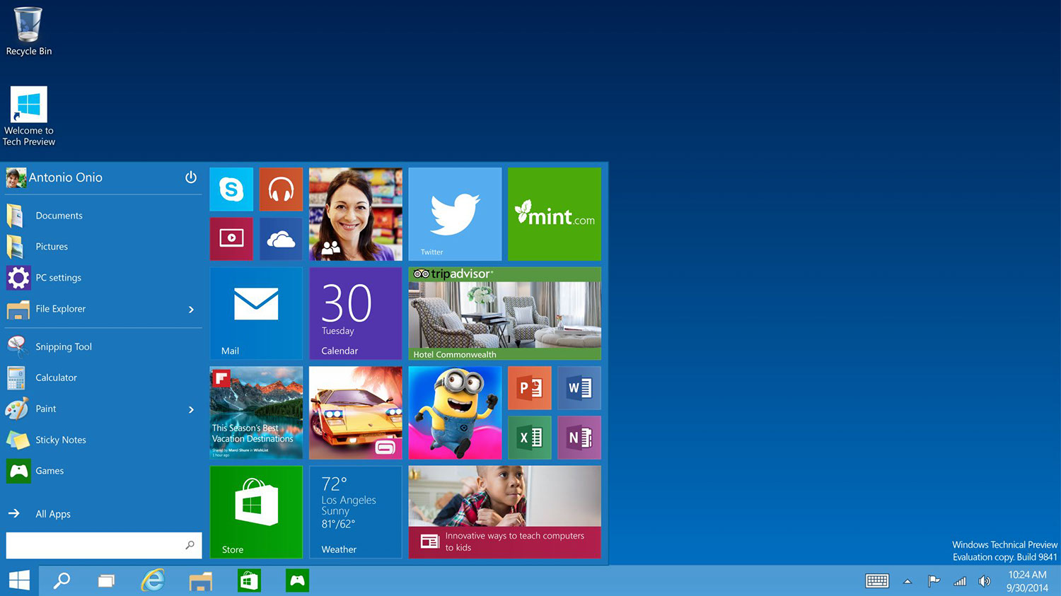 Windows 10 Desktop und Startmenü