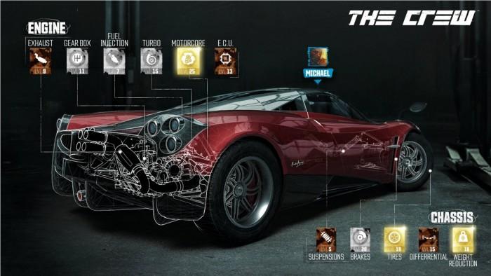 Transparente Fahrzeugverkleidung im Spiel The Crew