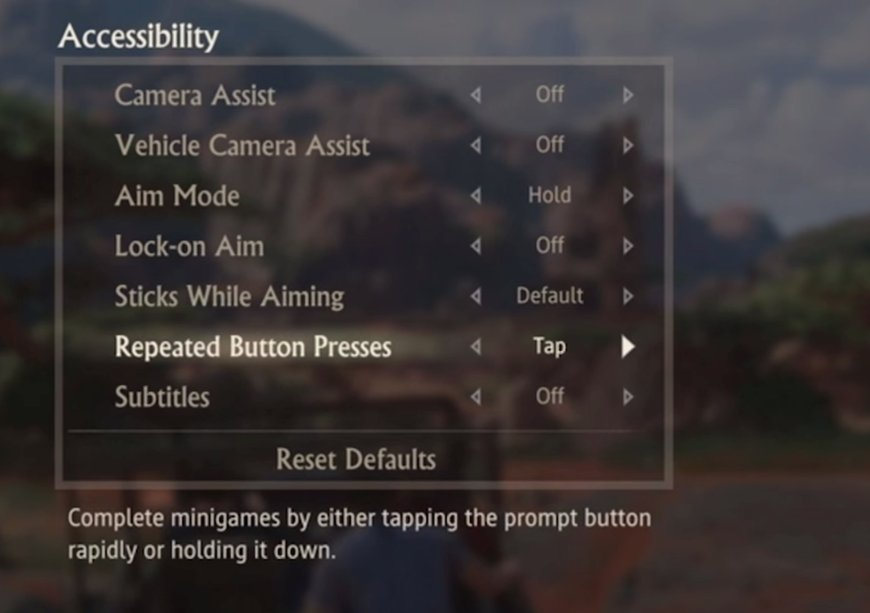 Uncharted game accessibilty options