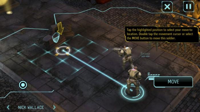 Visualisierung der Handlungsoptionen als Bewegungspfade im Spiel X-Com: Enemy Unknown.